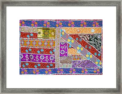 Colourful Indian Patchwork Wall Hanging Framed Print