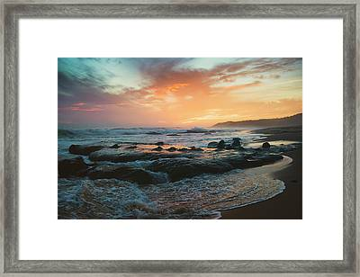 Colourful Sunset And Water Washing Framed Print by Ben Welsh