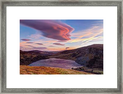 Colourful Sunset Over Lough Tay In Wicklow Framed Print by Semmick Photo
