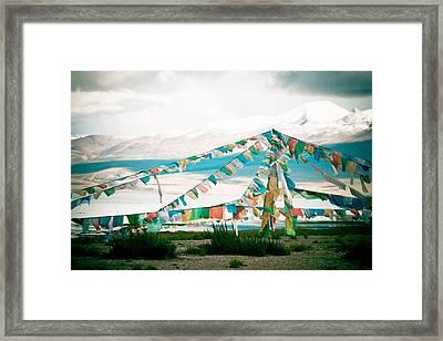 Colourfull Praying Buddhist Flags Lungta  Framed Print by Raimond Klavins