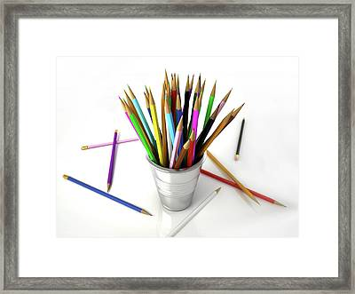Colouring Pencils In A Pot Framed Print by Leonello Calvetti