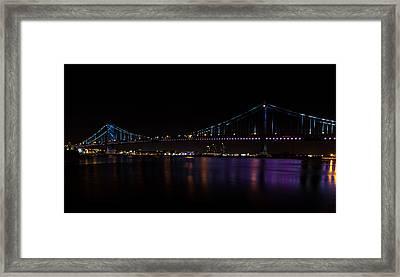 Colours Of The Benjamin Franklin Bridge Framed Print by David Hahn