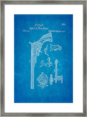 Colt Pistol Patent Art 2 1839 Blueprint Framed Print