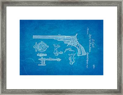 Colt Pistol Patent Art  3 1839 Blueprint Framed Print
