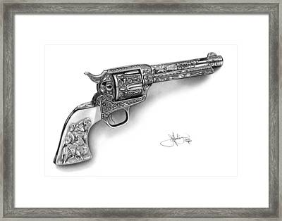 Colt Revolver Drawing Framed Print by John Harding