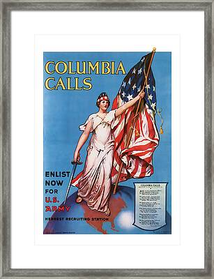 Columbia Calls   Vintage Ww1 Art Framed Print