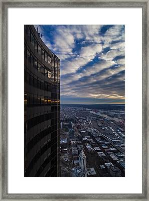 Columbia Center Skies Reflected Framed Print by Mike Reid