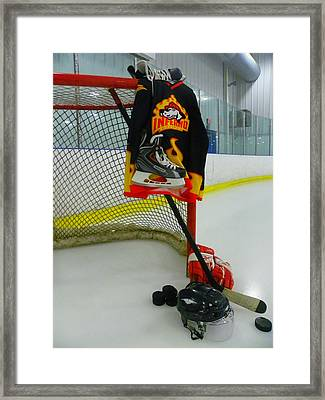 Columbia Inferno Away Hockey Jersey Framed Print by Lisa Wooten