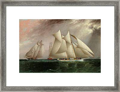 Columbia Leading Dauntless In The Hurricane Cup Race Framed Print by James E Buttersworth