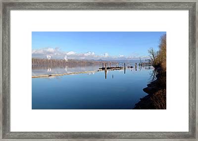 Columbia River Dredging Work Docks Framed Print