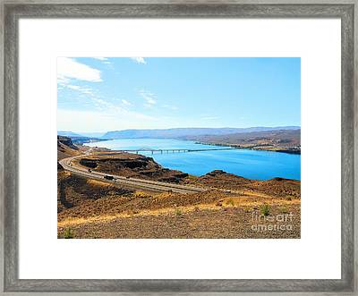 Framed Print featuring the photograph Columbia River From Overlook by Janette Boyd