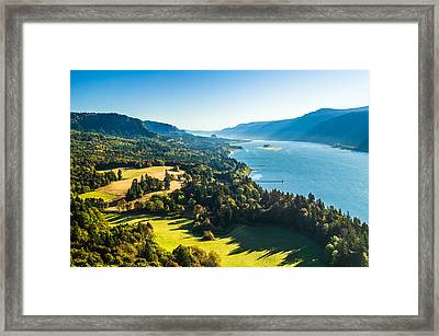 Columbia River Gorge - River Overlook Photograph Framed Print by Duane Miller