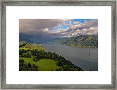Columbia River Gorge Rain Clouds Framed Print by Tristina Yarzombek