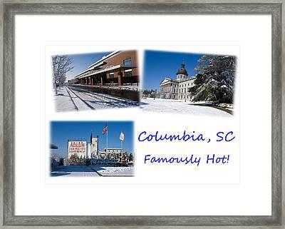 Columbia South Carolina Famously Hot Blue White Framed Print