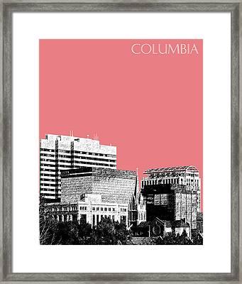 Columbia South Carolina Skyline 1 - Light Red Framed Print