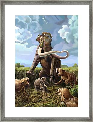 Columbian Mammoth And Saber-toothed Cats Framed Print by Spencer Sutton