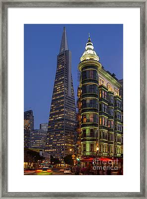 Columbus And Transamerica Buildings Framed Print
