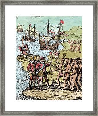 Columbus At Hispaniola, From The Narrative And Critical History Of America, Edited By Justin Framed Print by Theodore de Bry