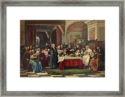 Columbus At Spain's Royal Court, May Framed Print by Science Photo Library