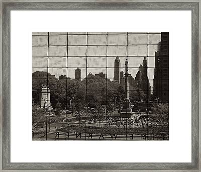 Columbus Circle Through The Time Warner Glass Window Framed Print