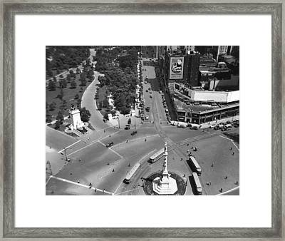 Columbus Circle Framed Print by Underwood Archives