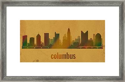 Columbus Ohio City Skyline Watercolor On Parchment Framed Print