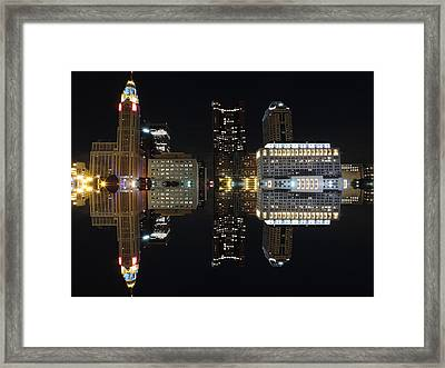 Columbus Reflection At Night Framed Print by Cityscape Photography