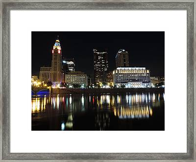 Columbus Skyline At Night Framed Print by Cityscape Photography