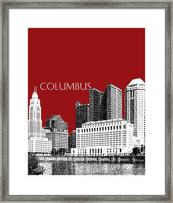 Columbus Skyline - Dark Red Framed Print by DB Artist