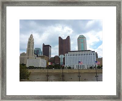 Columbus Skyline With Flags Framed Print by Cityscape Photography