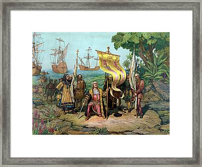 Columbus Taking Possession Of The New Country Framed Print by War Is Hell Store