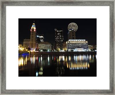 Columbus With The Moon Framed Print by Cityscape Photography