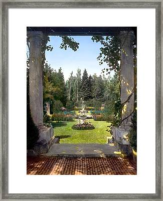 Columns And Fountain Framed Print by Terry Reynoldson