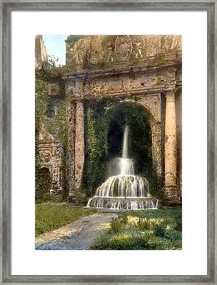 Columns And Waterfall Framed Print by Terry Reynoldson