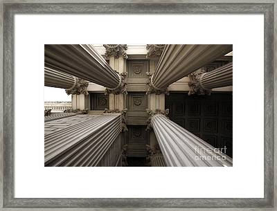 Columns At The National Archives In Washington Dc Framed Print by William Kuta