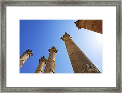 Columns At The Temple Of Artemis At Jerash Jordan Framed Print by Robert Preston