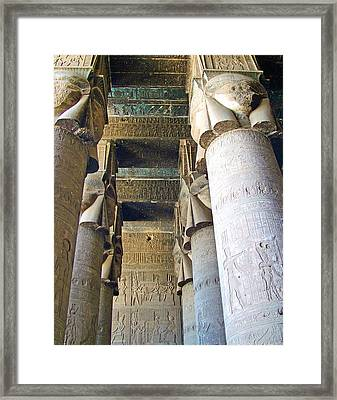 Columns In Temple Of Hathor Near Dendera In Qena-egypt Framed Print