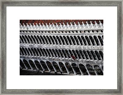 Columns Leaning Framed Print by Jacqueline M Lewis