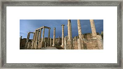 Columns Of Buildings In An Old Ruined Framed Print