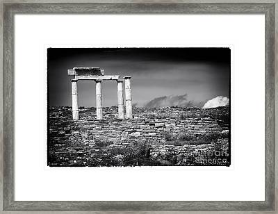 Columns Of History On Delos Island Framed Print by John Rizzuto