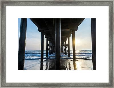 Columns Of Huntington Pier Framed Print