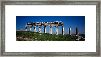 Columns On A Landscape, Apamea, Syria Framed Print by Panoramic Images