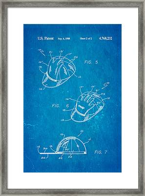 Combined Baseball Glove Cap Patent Art 1988 Blueprint Framed Print