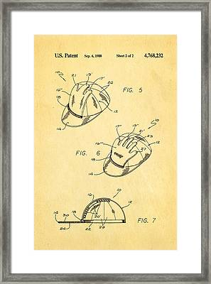 Combined Baseball Glove Cap Patent Art 1988 Framed Print