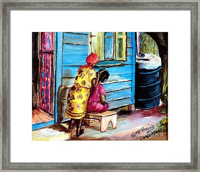 Combing Combie Framed Print by Rosine Smith
