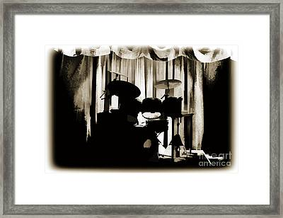 Combo Trap Drum Set Painting In Sepia 3230.01 Framed Print