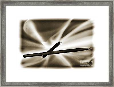 Combo Trap Drum Sticks Painting In Sepia 3231.01 Framed Print