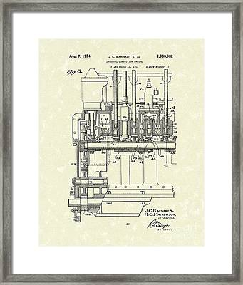 Combustion Engine 1934 Patent Art Framed Print by Prior Art Design