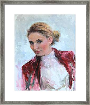 Framed Print featuring the painting Come A Little Closer Young Woman Portrait by Talya Johnson
