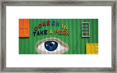 Come On In Take A Peek Framed Print